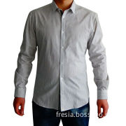 Men's Long-sleeved Striped Shirt, Made of 100% Cotton, OEM Orders are Welcome
