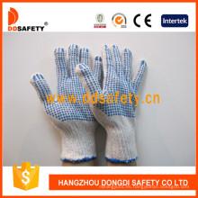 Guantes de algodón hechos punto con los puntos azules del PVC ambos lados Dkp226