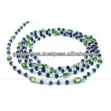 Oval Cut Bezel et Rondelle Beaded Chain, Vente en gros Gemstone Jewelry Supplier