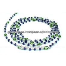 Oval Cut Bezel e Rondelle Beaded Chain, Venda Por Atacado Gemstone Jewelry Supplier