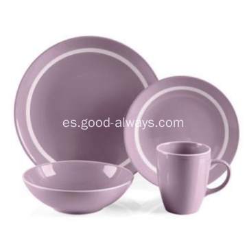 Pieza 16 gres cena Set Color morado con borde blanco