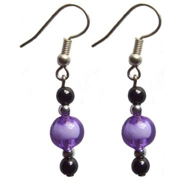 Hematite Earring With 925 Purple Silver Hook