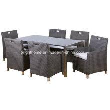 Lazer Outdoor Pátio Rattan Modern Mobiliário de Jardim Cadeira Mesa