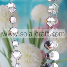 16MM Sparkling Faceted Semicircle Pendant Acrylic Crystal Bead Strand Deco Ornaments White Color