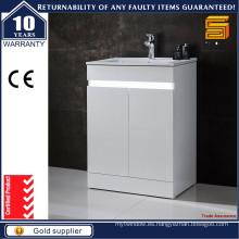 Unidad de Vanitiy del cuarto de baño del piso del MDF de la laca blanca