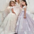 Little Girl Ball Gown Scoop apliques glitz del desfile del piso longitud corta delantera larga espalda vestido de niña de las flores para los niños vestido de fiesta