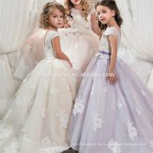 Kleines Mädchen-Ballkleid-Schaufel-applizierte Glitz-Festzug-Boden-Längenkurzes vorderes langes rückseitiges Blumenmädchenkleid für Kinder-Abschlussball-Kleid