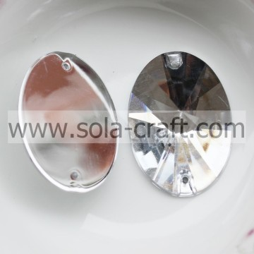 Plate Faceted Acrylic Crystal Oval Sew-on Bead Rectangle