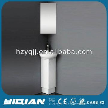 Slim piso de PVC de pie blanco ahorrador de espacio pequeños muebles de baño