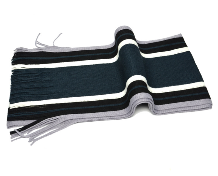 Vertical Stripes Knitting Scarf Navy