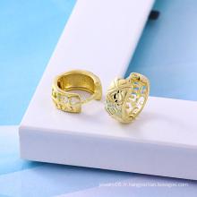 Boucle d'oreille en or de couleur 14k en or zircon (22950)