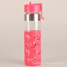 Garrafa de água de vidro com garrafa segura personalizada