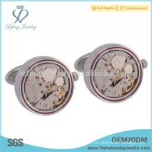 Vintage prata abotoaduras jóias, abotoaduras relógio para homens