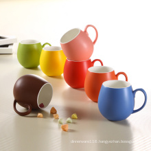 Colorful Glazing Design Porcelain Round Cup Ceramic Mugs