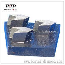Bloc de ponçage en métal et diamant avec segments de flèche