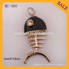 MC460 Las etiquetas de encargo de la caída del metal de la insignia de la forma animal para la pulsera / el bolso