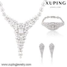S-37 Luxus Kristall Braut Hochzeit Schmuck Set Strass Anhänger V Tropfen Halskette Ohrring und Armband Set