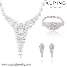 S-37 Luxury Crystal Bridal Wedding Jewelry Set Rhinestone Pendant V Drop Necklace Earring and Bracelet Set