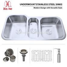 Fregadero del acero inoxidable de la cocina del Undermount de la cocina americana del cUPC del OEM con Triple Bowl