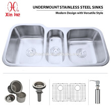 OEM American US cUPC Undermount Kitchen Stainless Steel sink with Triple Bowl