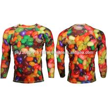 jelly bean printed custom made compression gym style wear rash guard