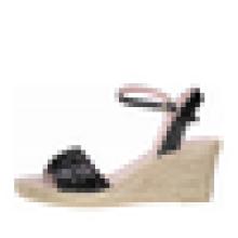 Sequin верхней клин пятки espadrille сандалии женщин на высоком каблуке резиновые подошвы