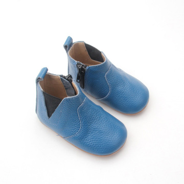 Blue Elastic Ankle Soft Sole Baby Boots