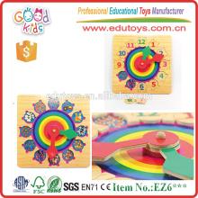 Reloj colorido y digital 12 números juego de madera juego de puzzle para los niños Jugar