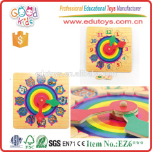 Relógio colorido e digital 12 Números Matching Wooden Puzzle Game for Kids Play