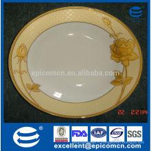 Luxe finition dorée fine en porcelaine Ensemble de plat plat