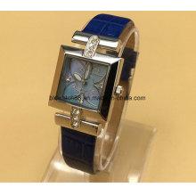 Reloj de señoras de acero inoxidable de moda para mujer con banda de cuero