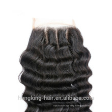 wholesale 100% Human vrigin three-parting lace closure 4x4 hair closure piece