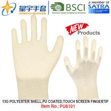 13G Poliéster Shell PU Revestido Luvas (PU6101) Tela de toque Fingertip com CE, En388, En420 luvas de trabalho