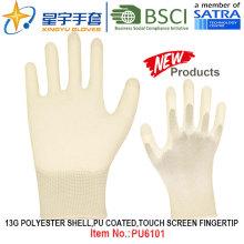 13G полиэстер оболочки ПУ покрытием перчатки (PU6101) сенсорный экран пальца с CE, En388, En420 рабочие перчатки