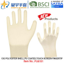 13G Polyester Shell PU Coated Gloves (PU6101) Touch Screen Fingertip with CE, En388, En420 Work Gloves