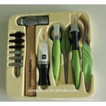 2015 artesanato ferramentas scrapbook kit de martelo, faca de ofício esteira, configuração, configuração base + dicas, pinças