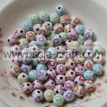 6MM/8MM Acrylic Washed Cross Pattern Acrylic Spacer Beads