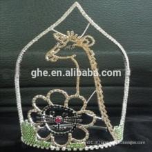 Venda quente lindo montanha animal girafa coroa tiara conjuntos coroa tiara