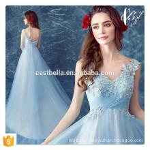 China Supplier Appliqued rebordeado azul claro elegante vestidos de noche largos para la fiesta de Navidad vestido de cena de regreso al hogar