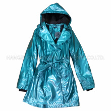 PU azul con capucha impermeable para adulto