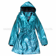 PU Blue Hooded Raincoat for Adult