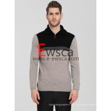 Camisola de Cashmere Masculina com Meia-Zip Pura com Colos Preto e Branco