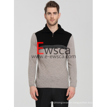 Men′s Half -Zip Pure Cashmere Sweater with Black and White Colros
