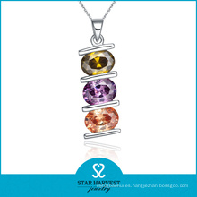 Collar de plata colorido lindo de la joyería de la CZ (N-0044)
