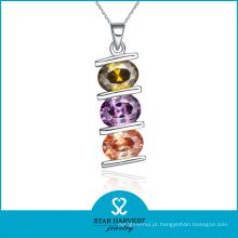 Bonito colorido colar de jóias de prata cz (n-0044)