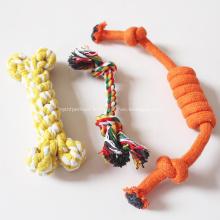 Jouet d'animal familier de corde de coton à mâcher de dentition d'activité interactive