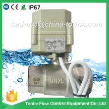"""1 """"Dn25 2 vías 12V 24V motorizado de agua eléctrica de cierre de la válvula de bola"""