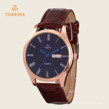 Relógio de luxo homens de couro Rose Gold mão relógios 72338