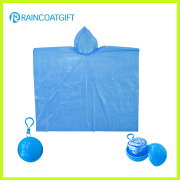 Emergency Waterproof PE Disposable Rain Poncho Ball Rvc-097
