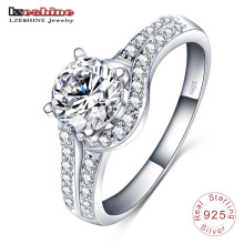 Wedding Diamond Inlay 925 Sterling Silver Jewelry Ring (SRI0002-B)